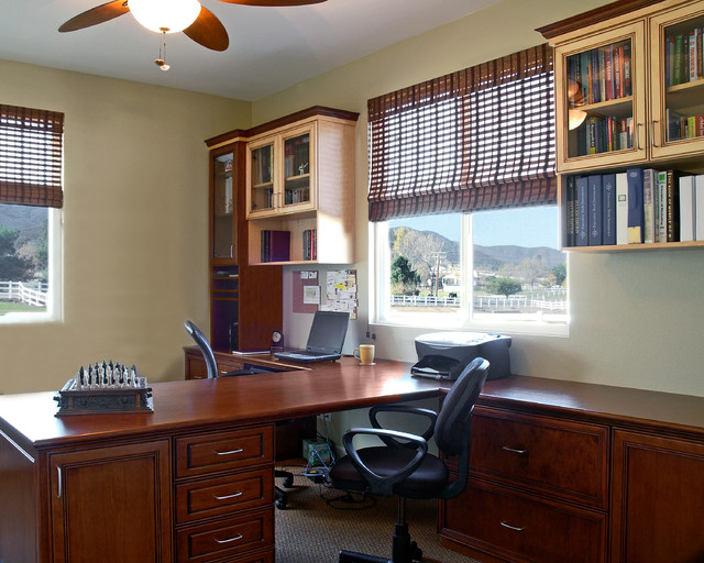 Amazing Home Office Ideas For Two Part - 6: Two Tone Summer Flame And Maple Home Office Craftsman-home-office