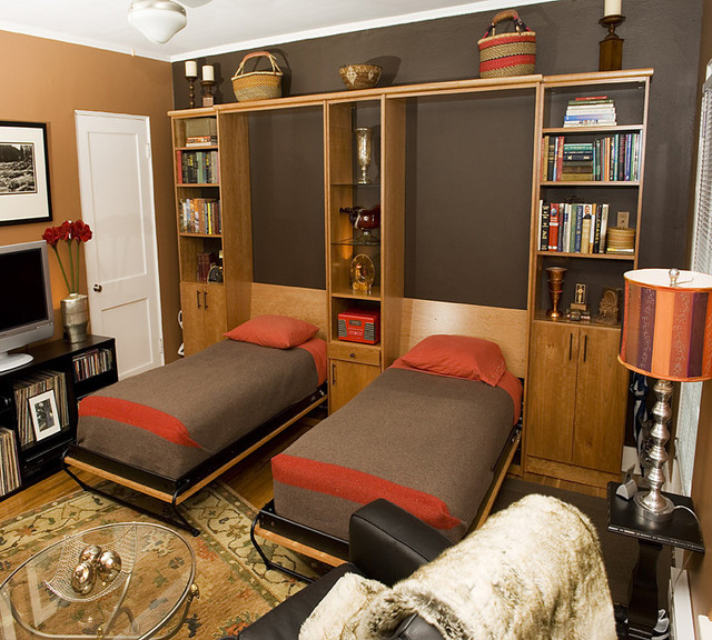 Two Twin Wall Beds In Home Office eclectic-home-office