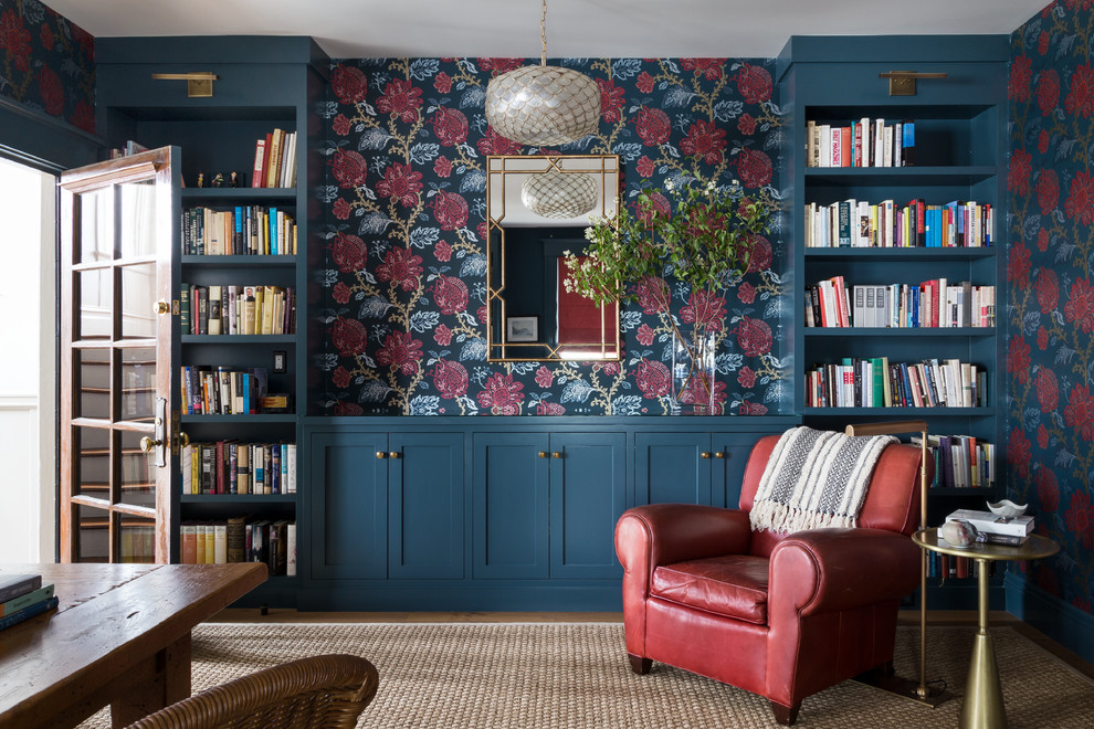 Inspiration for a transitional home office library remodel in San Francisco with multicolored walls