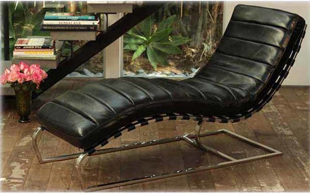 Urban france collection black leather chaise lounge for Chaise urban but