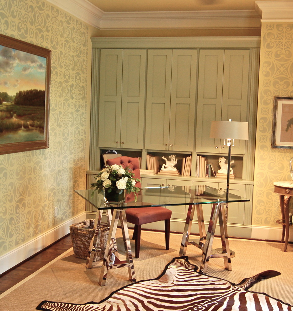 Inspiration for a mid-sized timeless freestanding desk dark wood floor and brown floor study room remodel in Charleston with multicolored walls