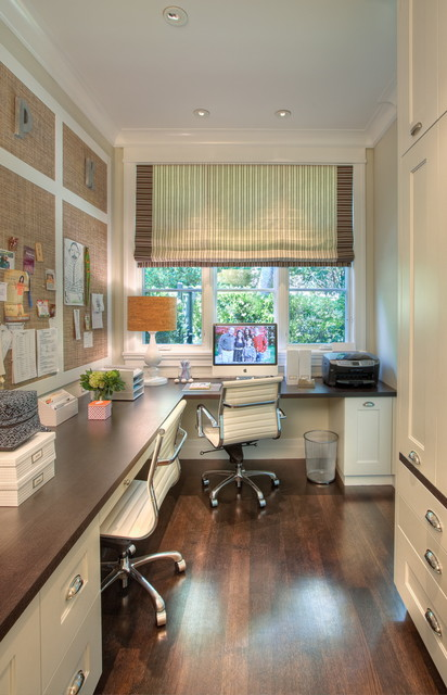 Inspiration for a transitional built-in desk home office remodel in San Francisco