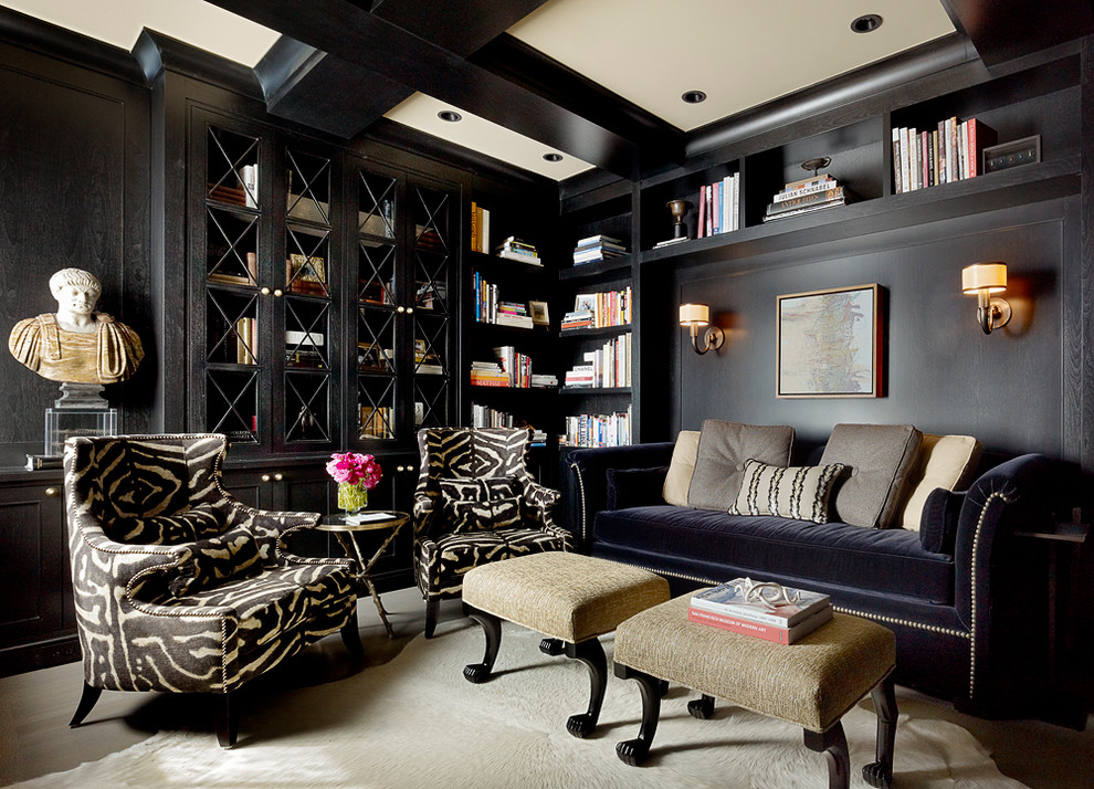Inspiration for a timeless beige floor home office remodel in San Francisco with black walls