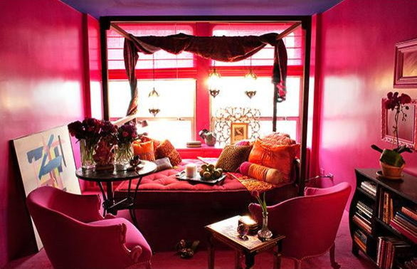 Very Pink Office eclectic home office