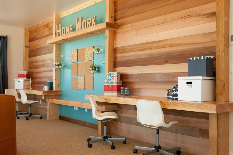 Home office - contemporary built-in desk carpeted home office idea in Salt Lake City