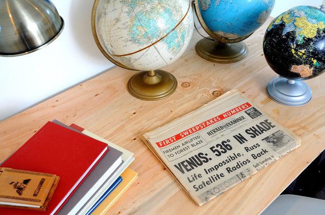 Vintage Newspaper as Design Detail eclectic-home-office
