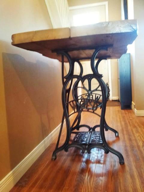 Vintage Sewing Table with Hemlock Barn Floor Trusses - Rustic - Home Office - toronto - by REBARN