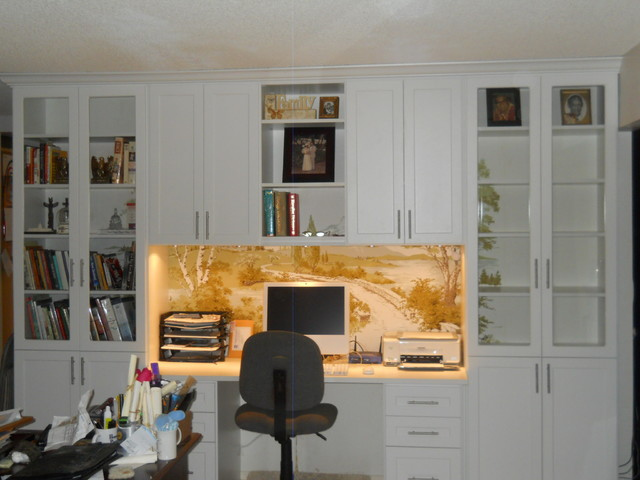 Wall Unit Home Office In Arctic White Traditional