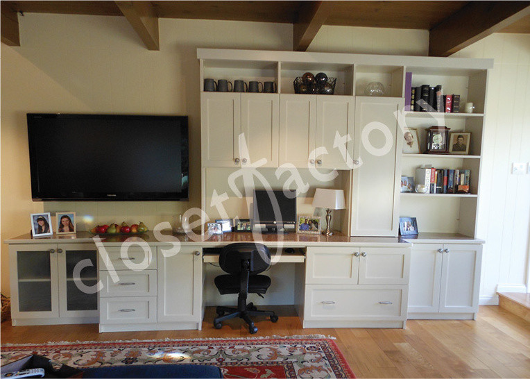 Wall Unit With Desk And Entertainment Eclectic Home Office Los Angeles By Kay Wade Closet Factory