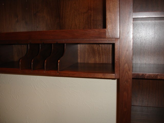 Walnut library details traditional-home-office