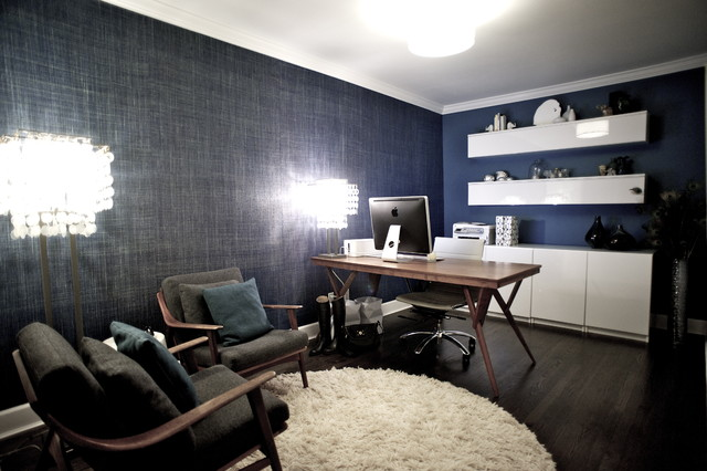 Example Of A Trendy Freestanding Desk Dark Wood Floor Home Office Design In Vancouver With Blue