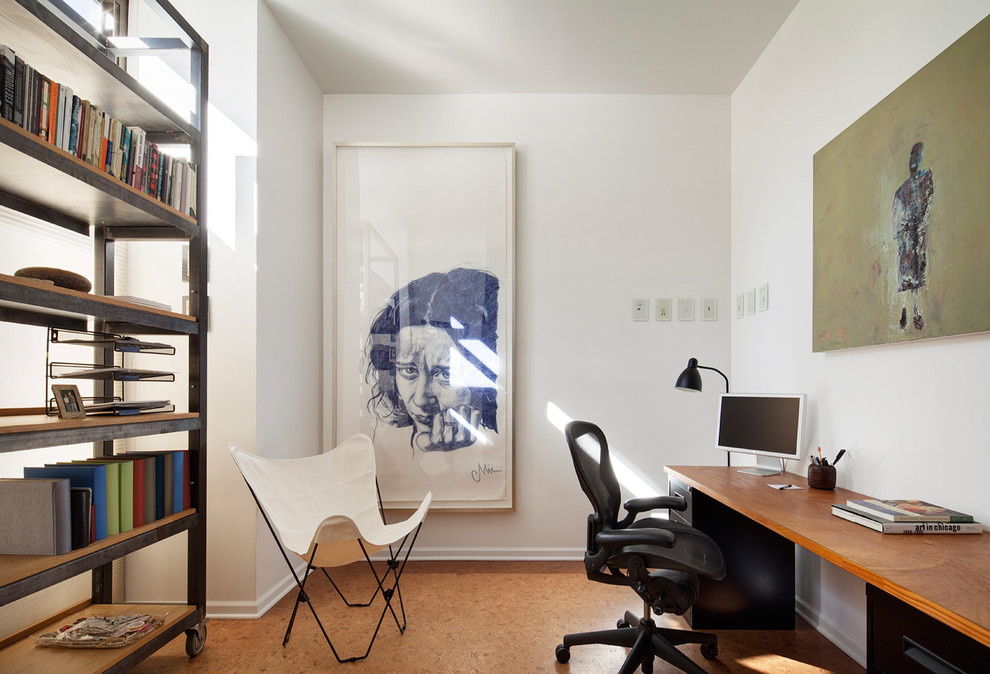 Home office - contemporary freestanding desk home office idea in Chicago with white walls
