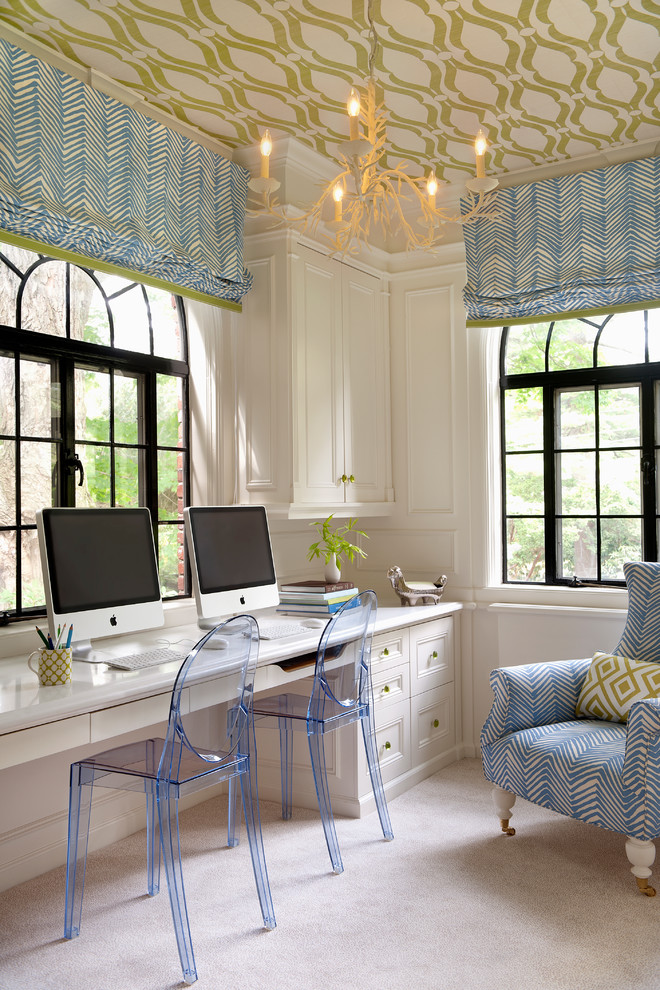 Inspiration for a transitional built-in desk carpeted home office remodel in Boston