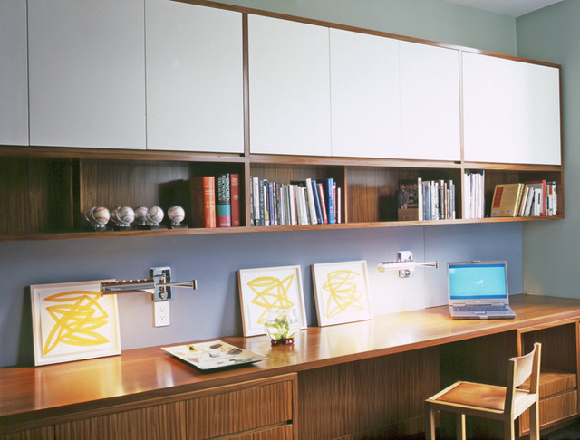 Original  Custom Home Office With BuiltIn Storage And DoubleSided Desk