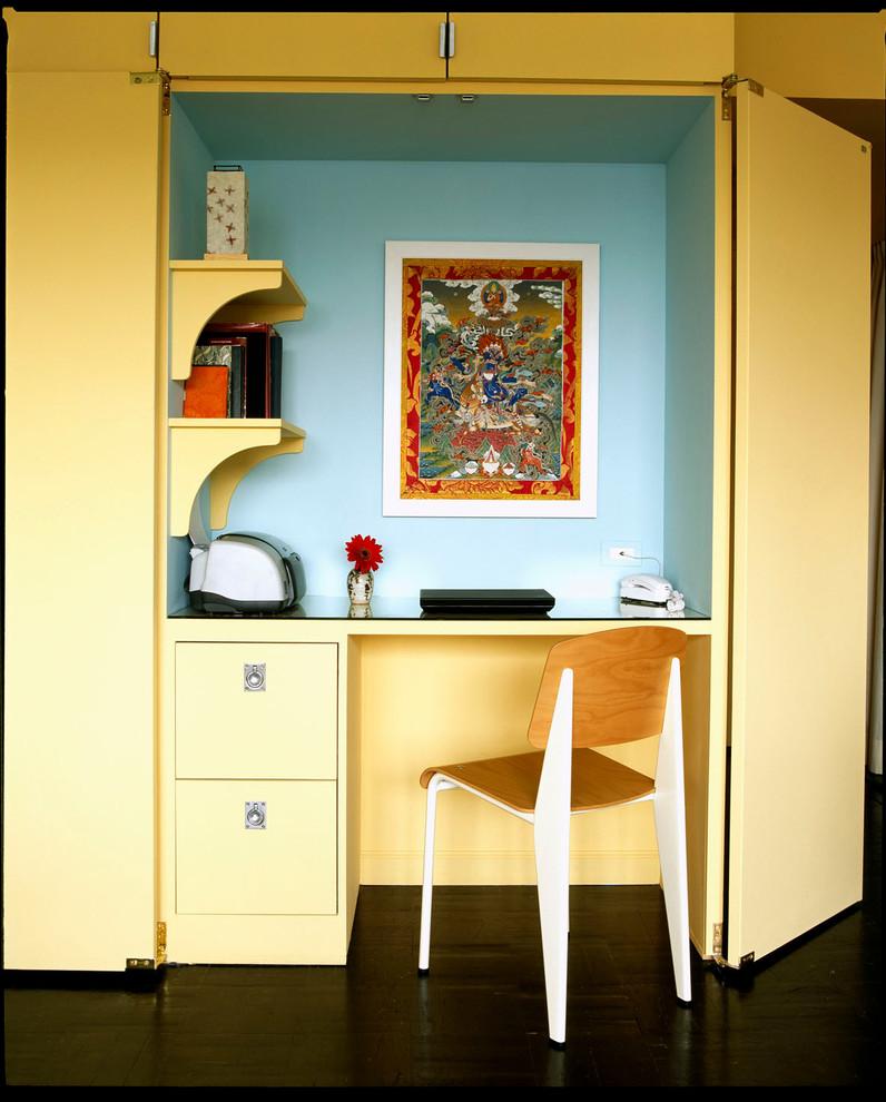 Trendy built-in desk home office photo in New York