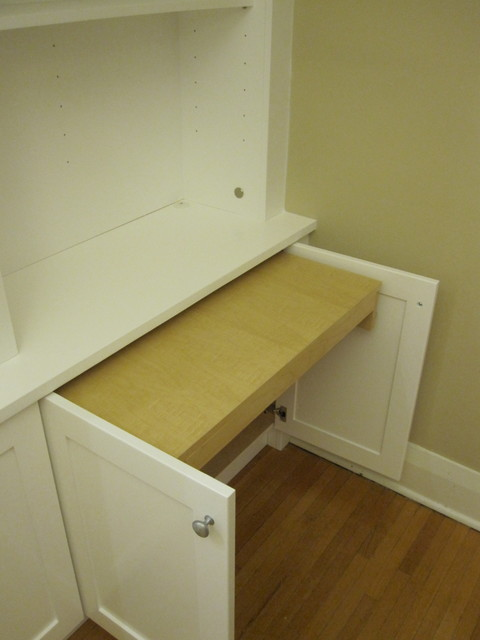 White shelves built in : White bookcases with built in desk - traditional home office ...