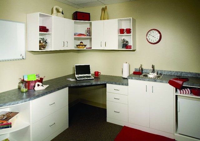 white laminate office with kitchenette contemporary