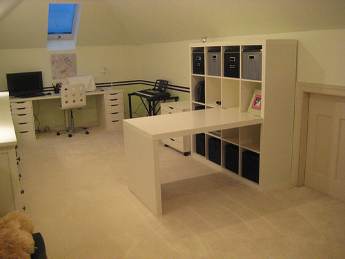 White work space modern home office
