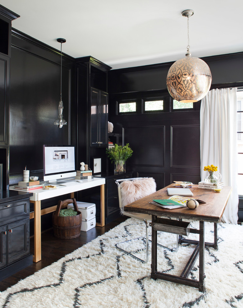 Inspiration for a mid-sized transitional freestanding desk dark wood floor study room remodel in Atlanta with black walls