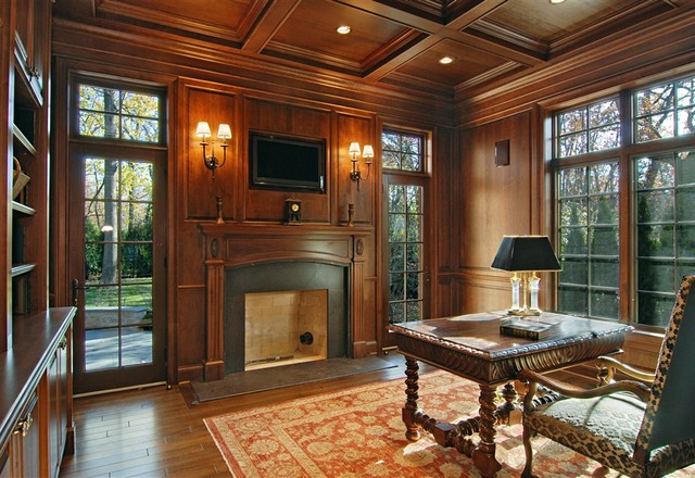 Winnetka luxury custom home traditional home office for Custom home library design