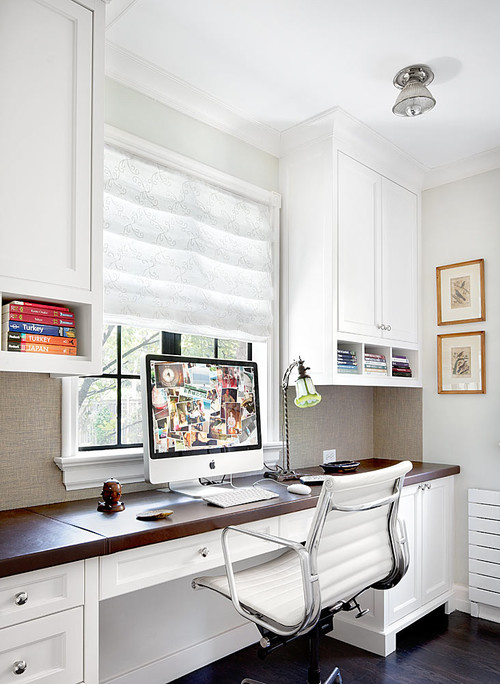 Neutral-colored home office