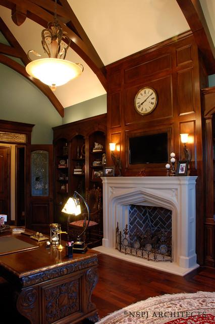 Wood Paneled Study Traditional Home Office Kansas