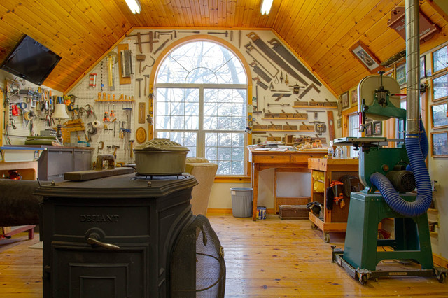 Woodshop Traditional Home Office New York on garage built in to hillside