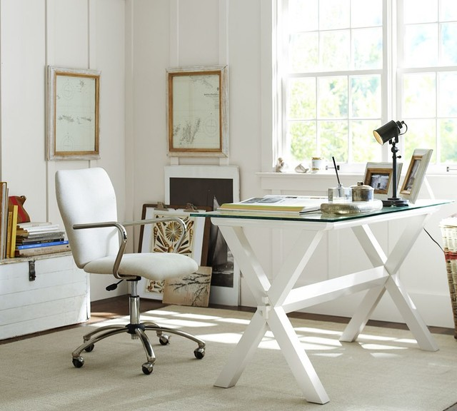Mid-sized elegant freestanding desk dark wood floor home studio photo in Sacramento with white walls