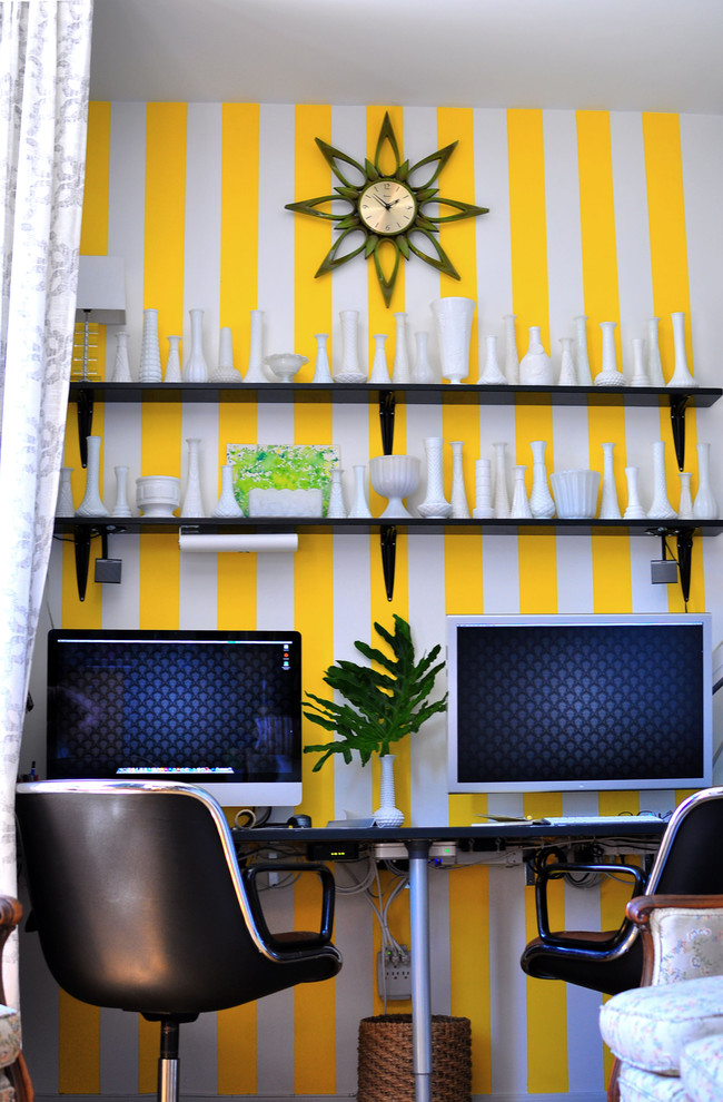Eclectic home office photo in Austin with multicolored walls
