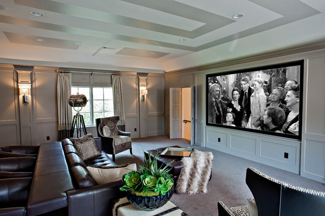Example of a transitional gray floor home theater design in Dallas with gray walls