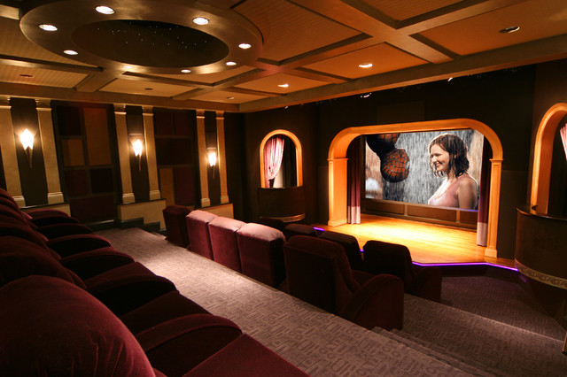 A theater with a stage contemporary home theater dc for Modern theater room
