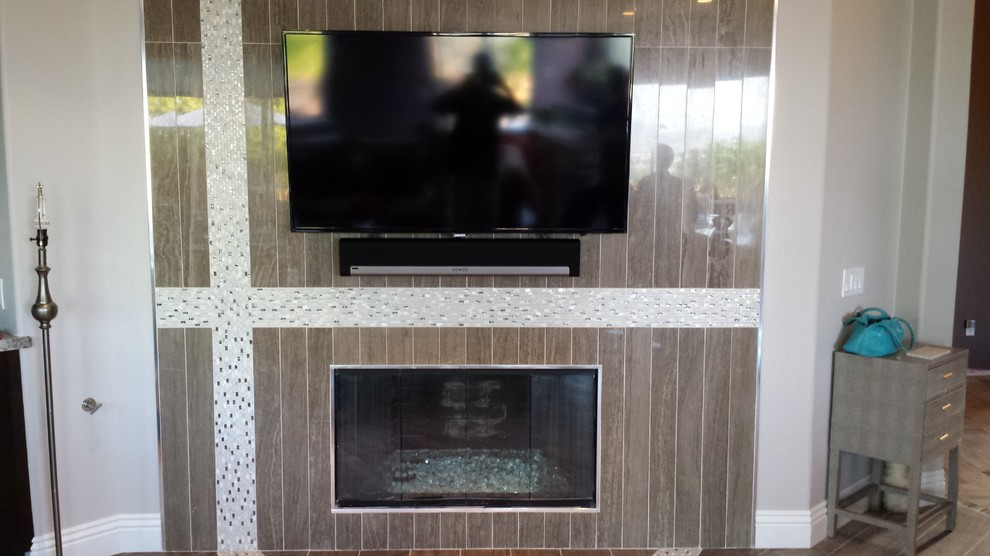 Home theater - contemporary home theater idea in San Diego