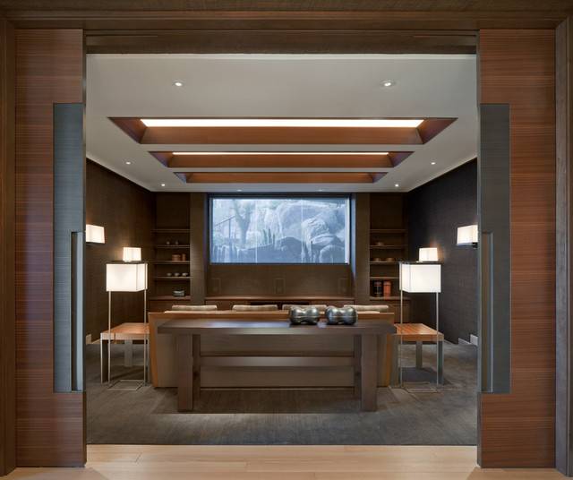 Architect: Jon C Bernhard contemporary-home-theater