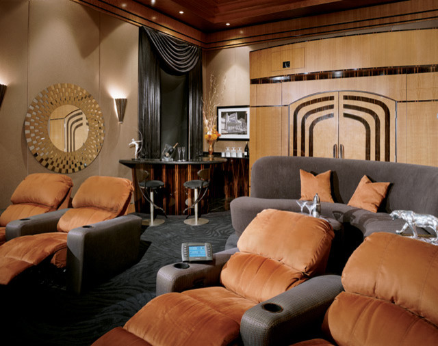 Art Deco home theater contemporary-home-theater
