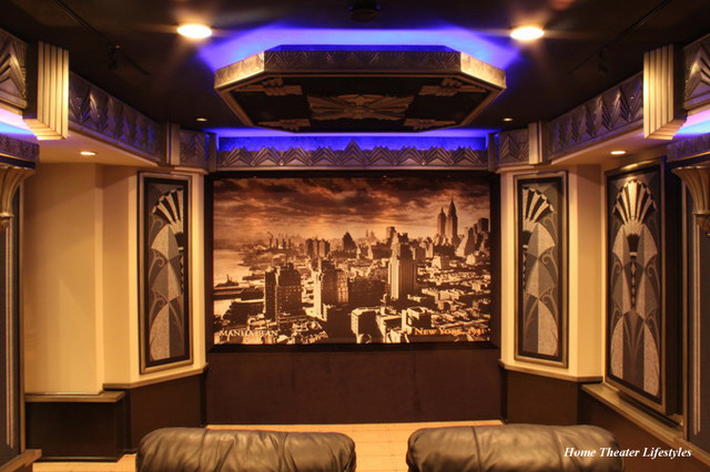 art deco home theater contemporary home cinema new york by home theater lifestyles. Black Bedroom Furniture Sets. Home Design Ideas