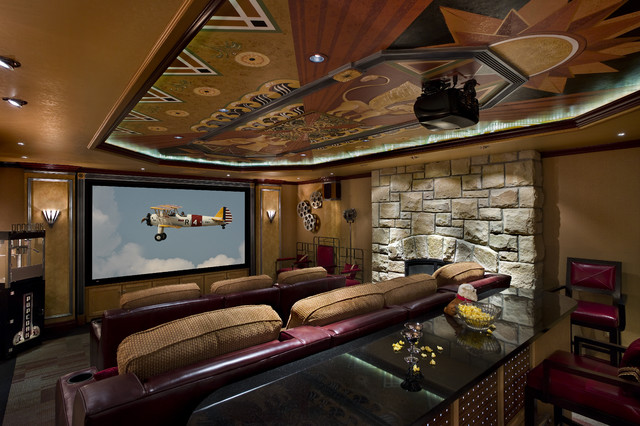 Art Deco Media Roomeclectic Home Theater