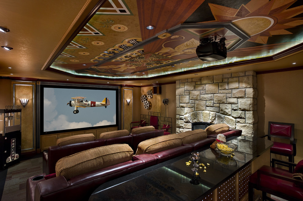 Home theater - large eclectic enclosed carpeted and multicolored floor home theater idea in Other with a projector screen and brown walls