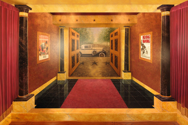 Home Cinema Foyer : Art deco movie palace home theater eclectic