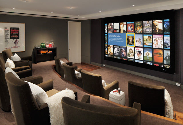 Trendy brown floor home theater photo in San Francisco