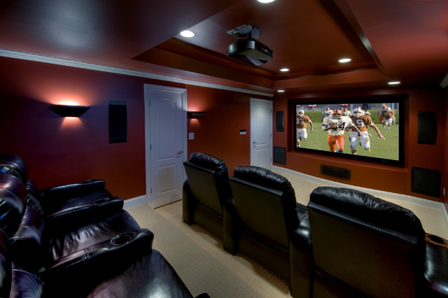 Ashburn transitional basement theatre room for Home theater basement design ideas
