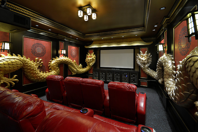 Asian Theme Custom Theater Room Asian Home Theater Houston By