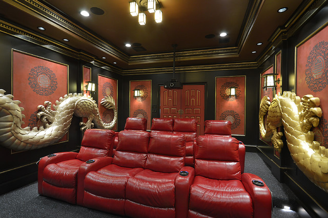 Zen Home Theater Photo In Houston With Red Walls
