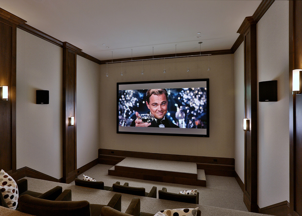 Home theater - transitional home theater idea in San Francisco