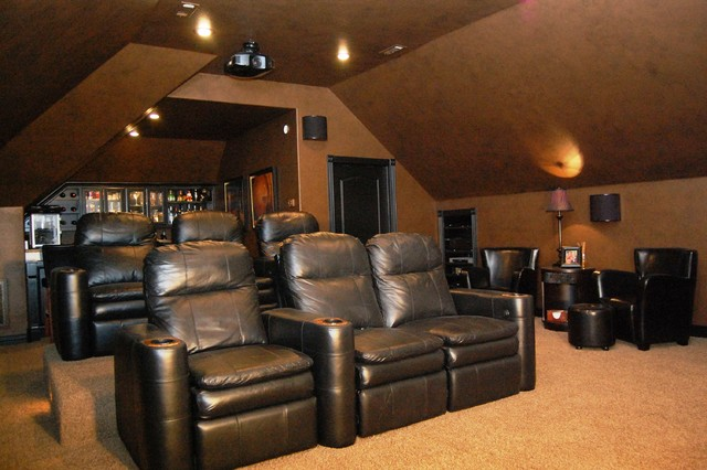 Attic Converted To Media Room Traditional Home Theater