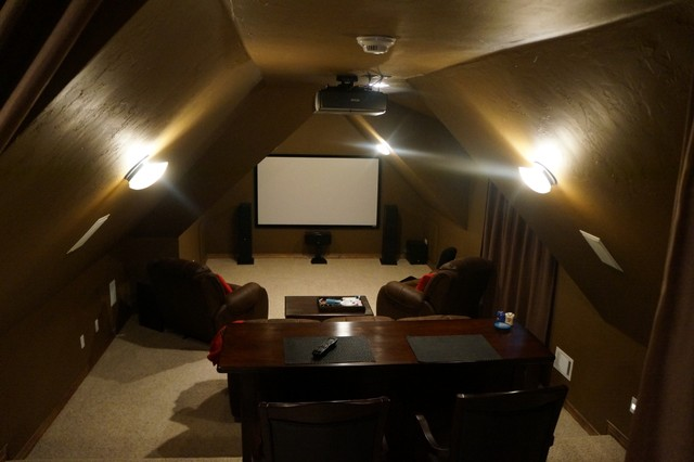 Medium Sized Clic Enclosed Home Cinema In Oklahoma City With Brown Walls Carpet And A