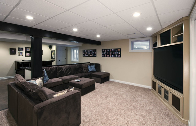 example of a trendy home theater design in chicago - Basement Drop Ceiling