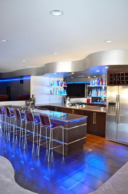 Bar contemporary-home-theater