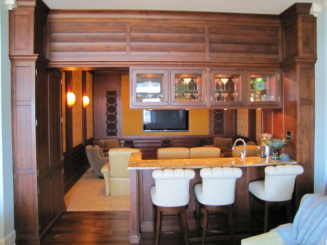 Bar Study And Theater Room Traditional Home Theater