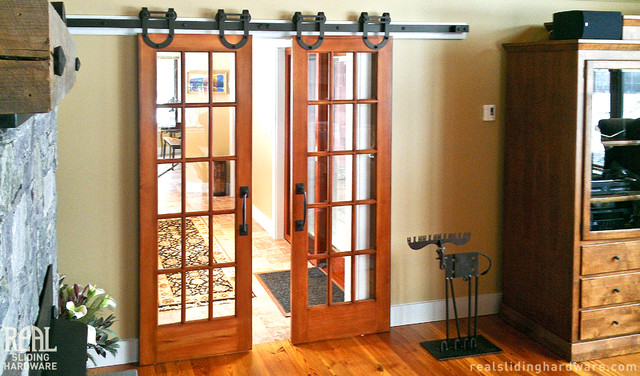 Barn Door Hardware Rustic Home Theater Seattle By Real