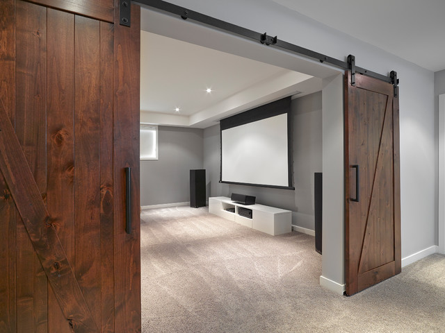 Barn Doors To Theatre Room Contemporary Home Theater